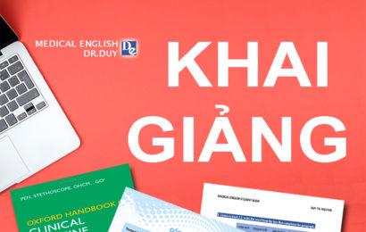 Khai Giảng Anh Văn Y Khoa Online Tháng 5 (Lớp 44-45-46)